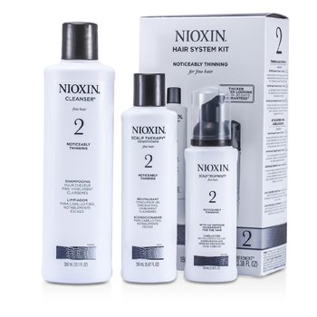 Nioxin System 2 System Kit For Fine & Noticeably Thinning Hair : Cleanser 300ml + Scalp Therapy 150ml + Scalp Treatment 100ml