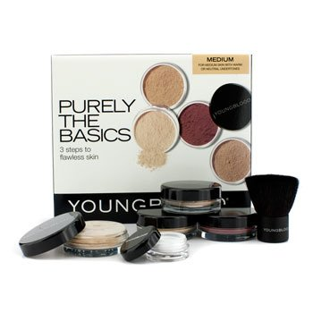 Youngblood Purely The Basics Kit - #Medium (2xFoundation, 1xMineral Blush, 1xSetting Powder, 1xBrush, 1xMineral Powder)