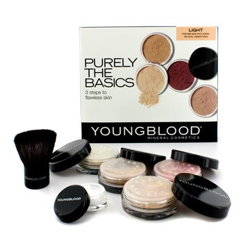 Youngblood Purely The Basics Kit - #Light (2xFoundation, 1xMineral Blush, 1xSetting Powder, 1xBrush, 1xMineral Powder)