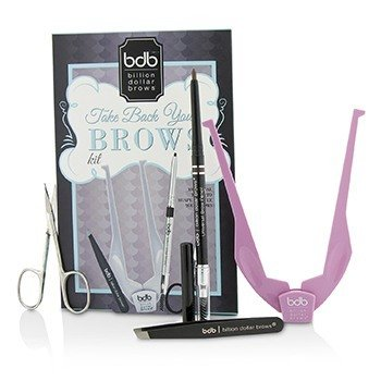 Billion Dollar Brows Take Back Your Brows Kit: 1x Brow Buddy, 1x Universal Brow Pencil, 1x Tweezers, 1x Scissors