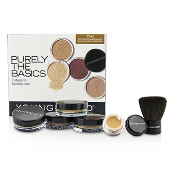 Youngblood Purely The Basics Kit - #Tan (2xFoundation, 1xMineral Blush, 1xSetting Powder, 1xBrush, 1xMineral Powder)