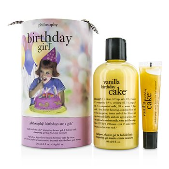 Philosophy Birthday Day Girl Set Vanilla Cake Shampoo Shower Gel Bubble Bath 240ml 8oz Lip Shine 14g 05oz 2pcs
