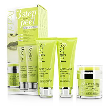Rodial Super Acids Kit - 3 Step At Home Peel: Peel 50ml + Mask 75ml + Scrub 75ml