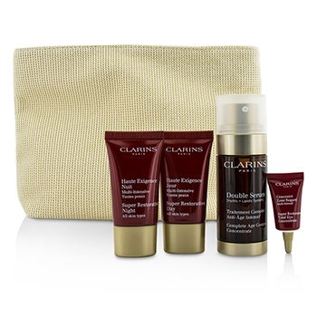 Clarins Skin-Replenishing Expert Set: Double Serum 30ml + Super Restorative Day Cream 15ml + Night Cream 15ml + Eye Concentrate 3ml + Bag