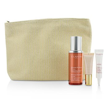Clarins Skin-Perfecting Expert Set: Mission Perfecting Serum 30ml + UV Plus SPF 50 10ml + Instant Light Base #01 10ml + Bag