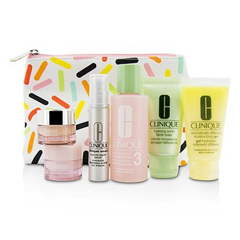 Travel Set: Sonic Facial Soap + Clarifying Lotion 3 + DDMG + Smart Serum + Moisture Surge Intense + All About Eyes + Bag