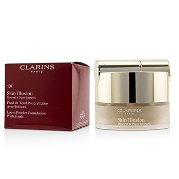 Clarins Skin Illusion Mineral & Plant Extracts Loose Powder Foundation (With Brush) (New Packaging) - # 107 Beige