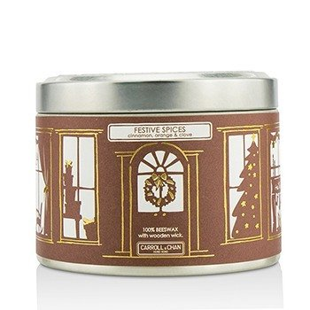 The Candle Company Tin Can 100% Beeswax Candle with Wooden Wick - Festive Spices (Cinnamon, Orange & Clove)