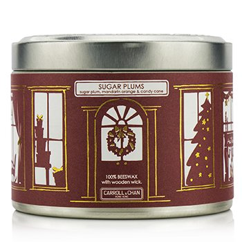 The Candle Company Tin Can 100% Beeswax Candle with Wooden Wick - Sugar Plums (Sugar Plum, Mandarin Orange & Candy Cane)