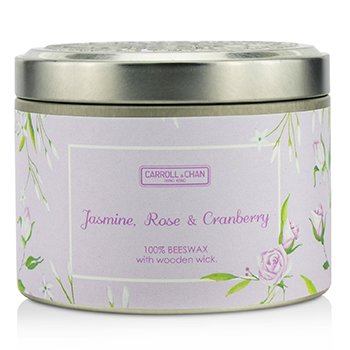The Candle Company Tin Can 100% Beeswax Candle with Wooden Wick - Jasmine, Rose & Cranberry