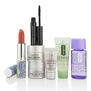 Clinique Bonus Travel Set: M/U Remover + Facial Soap + Repair Serum + 2x Moisturizer + Mascara + Lip Color