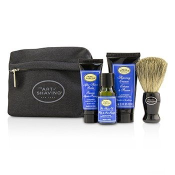 The Art Of Shaving Starter Kit - Lavender: Pre Shave Oil + Shaving Cream + After Shave Balm + Brush + Bag