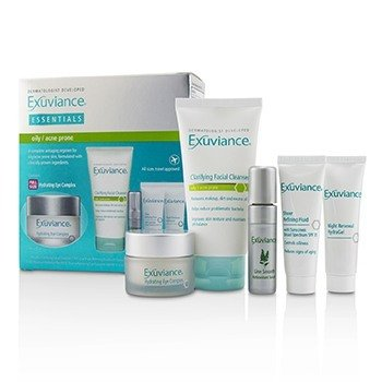 Essentials Kit (Oily/ Acne Prone): Facial Cleanser + Eye Complex + Sheer Refining Fluid + HydraGel + Antioxiant Serum