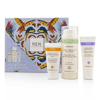 Ren All Is Calm All Is Bright Set: Mask 15ml + Firming Serum 10ml + Day Cream 50ml