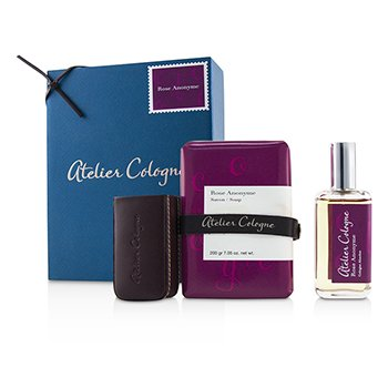 Atelier Cologne Rose Anonyme Coffret: Cologne Absolue Spray 30ml + Soap 200g + Leather Case for Cologne Absolue Spray 30ml