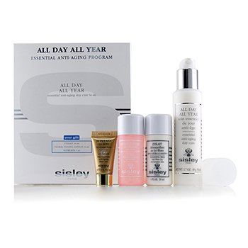 Sisley All Day All Year Essential Anti-Aging Program: All Day All Year 50ml + Cleansing Milk 30ml + Floral Toning Lotion 30ml + Supremya At Night 5ml
