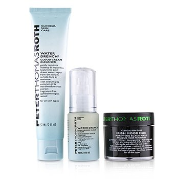 Peter Thomas Roth Clinical Skin Care Set: Water Drench Hyaluronic Cloud Serum 30ml + Water Drench Cloud Cream Cleanser 57ml + Irish Moor Mud Purifying Black Mask 50ml