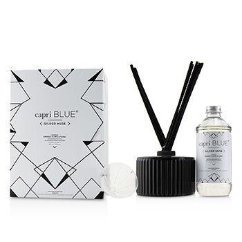 Capri Blue Gilded Muse Reed Diffuser - Smoked Clove & Tabac