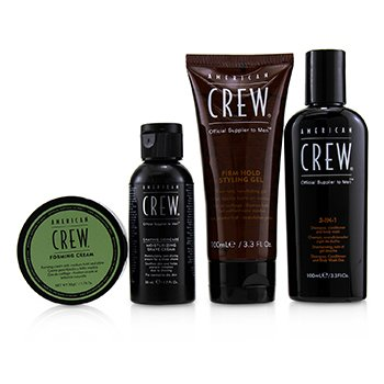 American Crew Travel Grooming Kit: 3-in-1 Shampoo, Conditioner & Shower Gel 100ml+Shave Cream 50ml+Styling Gel 100ml+Foaming Cream50g