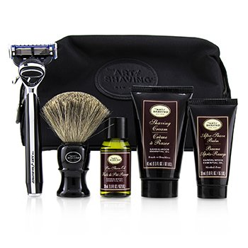 The Art Of Shaving The Four Elements of The Perfect Shave Set with Bag - Sandalwood: Pre Shave Oil + Shave Crm + A/S Balm + Brush + Razor
