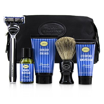 The Art Of Shaving The Four Elements of The Perfect Shave Set with Bag - Lavender: Pre Shave Oil + Shave Crm + A/S Balm + Brush + Razor