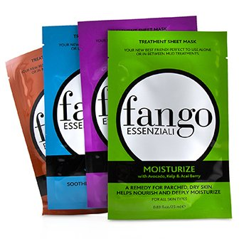 Borghese Fango Essenziali Treatment Sheet Mask Box Set (1x Moisturize Mask, 1x Purify Mask, 1x Calm Mask, 1x Energize Mask)