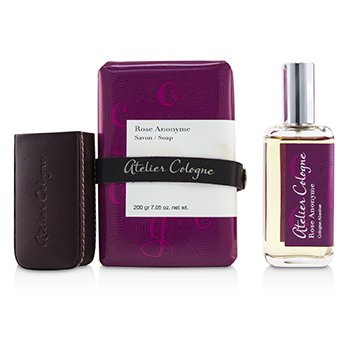 Atelier Cologne Rose Anonyme Coffret: Cologne Absolue Spray 30ml + Soap 200g + Leather Case (Box Slightly Damaged)