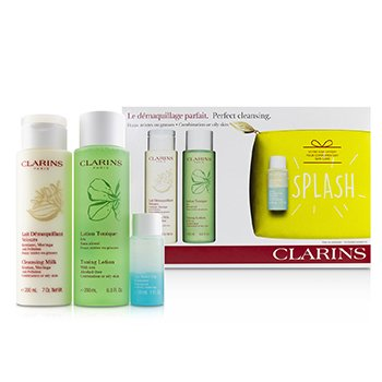 Clarins Perfect Cleansing Set (Combination or Oily Skin): Cleansing Milk 200ml+ Toning Lotion 200ml+ Eye Make-Up Remover 30ml+ Bag