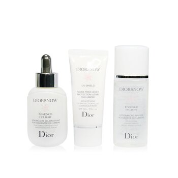 Christian Dior Diorsnow Brightening Collection: Milk Serum + Micro-Infused Lotion + UV Protection Fluid SPF50 + Pouch (Box Slightly Damaged)