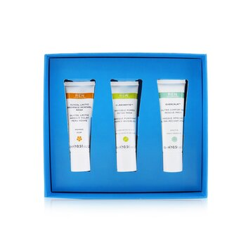 Ren Face Mask Trio Set: Glycol Lactic Mask 15ml + Evercalm Mask 15ml + Clarimatte Mask 15ml