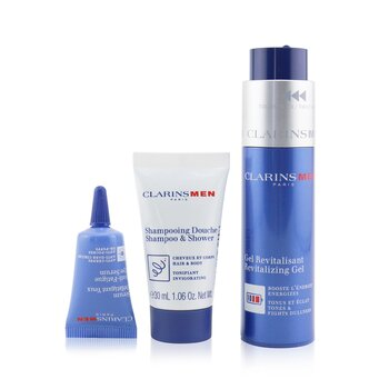 Clarins Men Revitalizing Collection: Revitalizing Gel 50ml + Shampoo & Shower 30ml + Anti-Fatigue Eye Serum 3ml + Pouch