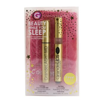 Grande Cosmetics (GrandeLash) Beauty While You Sleep Set: GrandeLASH MD 2ml + GrandeLIPS 2.4ml + Microfiber Turban Towel