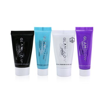 Glamglow Instant Celebrity Skin Masking Set: 1x Supermud Clearing Treatment - 15g + 1x Youthmud Glow Stimulating Treatment - 15g + 1x Thristymud Hydrating Treatment - 10g/0.35 + 1x Gravitymud Firming Treatment- 10g/0.35