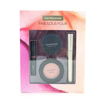 BareMinerals Fabulous Four Full Size Makeup Essentials Set (1x Mineral Veil Finishing Powder, 1x Blush, 1x Lipstick, 1x Mascara)